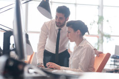 Business couple working together on project Royalty Free Stock Photography