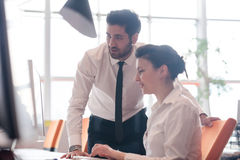 Business couple working together on project Stock Photos