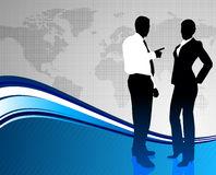 Business Couple of World Map Background Royalty Free Stock Photo