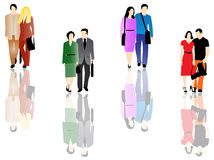 Business couples. Illustration of business couples, colors Royalty Free Stock Photos