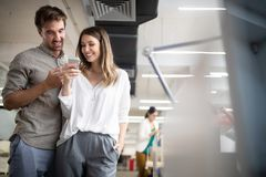 Business people having fun and chatting at workplace office. Business coworker people having fun and chatting at workplace office royalty free stock image