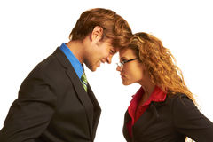 Business Coworkers Butting Heads Royalty Free Stock Photos