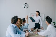 Business coworkers having business training at workplace. In office royalty free stock image