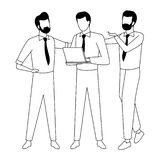Business coworkers with office supplies in black and white. Businessmen coworkers with office clipboard documents in black and white isolated faceless avatar royalty free illustration