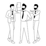 Business coworkers with office supplies in black and white. Businessmen coworkers with office clipboard documents in black and white isolated faceless avatar vector illustration