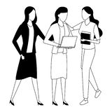 Business coworkers with office supplies in black and white. Businesswomen coworkers with clipboard office supplies and laptop in black and white isolated royalty free illustration