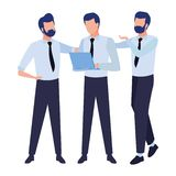 Business coworkers with office supplies. Businessmen coworkers with office clipboard documents colorful isolated faceless avatar vector illustration graphic stock illustration