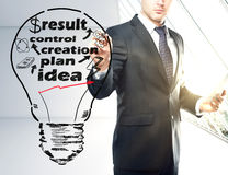 Business creation concept. Businessman drawing abstract light bulb with text in bright interior. Business creation concept royalty free stock photo