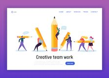 Business Creative Copywriter Teamwork Landing Page. Drawn People Holding Pencil. Blogger Work Goal. Education Job Leader. Success Website or Web Page. Flat stock illustration