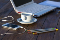 Business and creative Environment white electronic Devices and Coffee Mug Royalty Free Stock Image