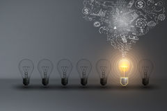 Business Creative and Idea Concept. Business Creative and Idea Concept : Light bulb with ideas background Royalty Free Stock Photos