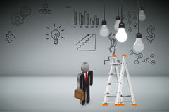 Business Creative and Idea Concept. Business Creative and Idea Concept : Business man climbing white metal ladder to pick up light bulb hanging on ceiling. 3D Royalty Free Stock Photo