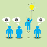 Business Creative Idea Floating Lightbulb Stock Photo