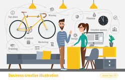 Business creative illustration. Women and man. Businessman character office worker professional Royalty Free Stock Photography