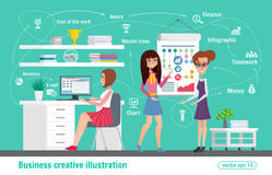 Business creative illustration. Women office worker professional. Royalty Free Stock Image