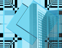Business and creativity. The background of this blue and black design has a playful / creative mathematical background. The skyscraper/big business has a grid Stock Image