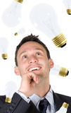 Business creativity - man with ideas Stock Photos