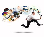 Business creativity with running businessman