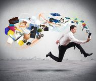 Business creativity with running businessman Stock Photo