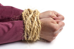 Business crime, hands tied Royalty Free Stock Photo