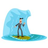 Business Crisis. Businessman under wave, Business Crisis Royalty Free Stock Image