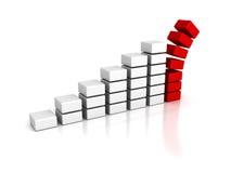 Business crisis bar graph falling down Stock Photo