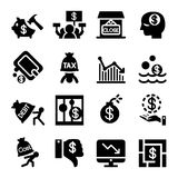 Business Crisis and business failure icon set. Vector illustration Royalty Free Stock Photography