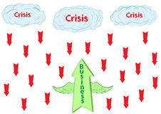 Business and crisis. The conceptual winged green arrow flies up against red Stock Image