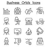 Business Crisis, Debt, Cost, Tax icon set in thin line style. Vector illustration graphic design Stock Images