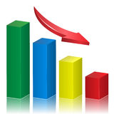 Business crisis graph. With falling arrow. Vector illustration Royalty Free Stock Images