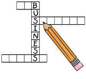 Business crossword. Pencil filling in the word business on crossword puzzle - vector Stock Photo