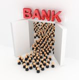 Business Crowd Bank Doors. Crowd of small symbolic businessmen figures, bank doors exiting, 3d illustration, horizontal, over white Stock Photo