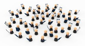 Business Crowd Clipboards. Crowd of small symbolic businessmen figures with clipboards, 3d illustration, horizontal, over white Royalty Free Stock Images