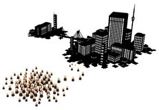 Business Crowd, Dark City Migrate Royalty Free Stock Photo