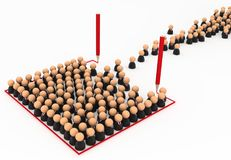 Business Crowd, Draw Line Box. Crowd of small symbolic businessmen figures, red line box draw, 3d illustration, horizontal, over white, isolated Stock Image