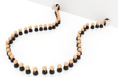 Business Crowd Turn Back. Crowd of small symbolic businessmen figures, turn back, 3d illustration, horizontal, over white Royalty Free Stock Images