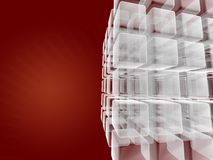 Business cube creation. Red layout with transparent cubes for special design effects vector illustration