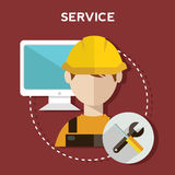 Business customer care service concept flat icons set of contact us support help desk phone call and website click for service and. Maintenance Stock Photo