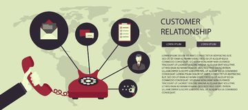 Business customer care service concept. Icons set of contact us, support, help, phone call and website click. Flat vector illustra Royalty Free Stock Photography