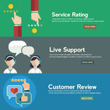 Business customer care service concept, rating on customer service and review flat banner set Royalty Free Stock Image