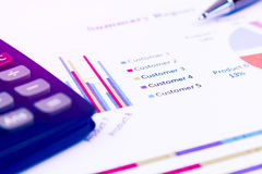 Business customer concept, Pen is on summary report and calculat Stock Photo
