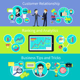 Business Customer Relationship. Tips and Trips. Crm, management and communication, strategy success, people professional, support manager businessman, client Stock Photo