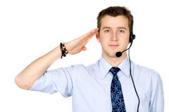 Business customer service guy ready to work Royalty Free Stock Photo