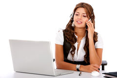 Business customer service woman on a laptop Stock Images