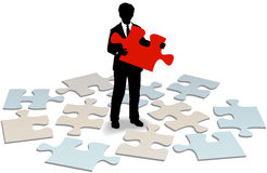 Business customer support answer help. Business person holding puzzle piece to solve customer service support problem Royalty Free Stock Photo