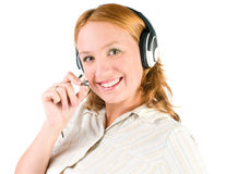 Business customer support operator woman smiling Royalty Free Stock Photography
