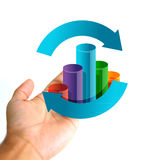 Business cycle concept. Hand holding a graph cycle Stock Photography