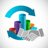 Business cycle handshake concept. Illustration design graphic Royalty Free Stock Photo