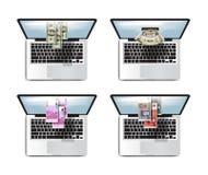 Business D'argent bénéfices en ligne Ensemble d'icône d'ordinateur portable Images libres de droits