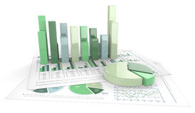 Business 3D graphics. Sheet of 3D business graphs in green and white Royalty Free Stock Photography